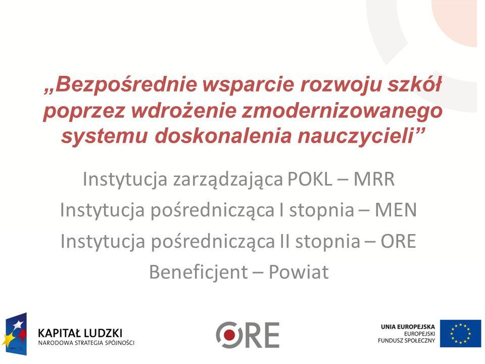 Bezpośrednie wsparcie rozwoju szkół poprzez wdrożenie zmodernizowanego systemu doskonalenia nauczycieli Instytucja zarządzająca POKL – MRR Instytucja
