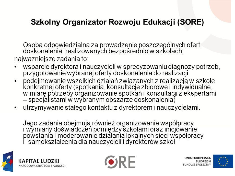 Szkolny Organizator Rozwoju Edukacji (SORE) Osoba odpowiedzialna za prowadzenie poszczególnych ofert doskonalenia realizowanych bezpośrednio w szkołac
