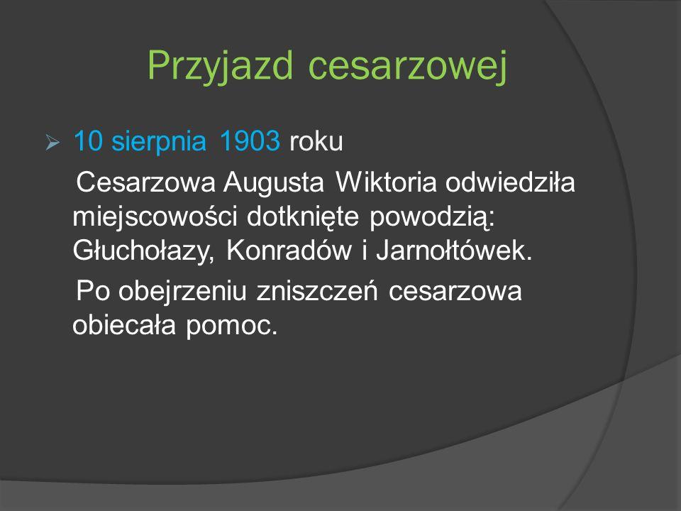 Przyjazd cesarzowej 10 sierpnia 1903 roku Cesarzowa Augusta Wiktoria odwiedziła miejscowości dotknięte powodzią: Głuchołazy, Konradów i Jarnołtówek.