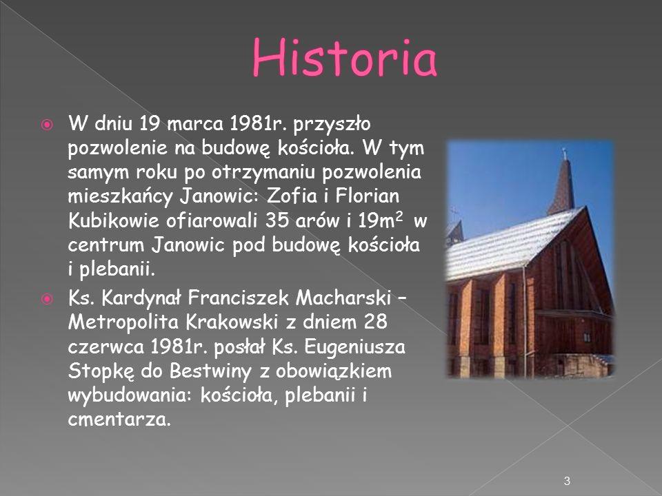 W dniu 19 marca 1981r. przyszło pozwolenie na budowę kościoła. W tym samym roku po otrzymaniu pozwolenia mieszkańcy Janowic: Zofia i Florian Kubikowie