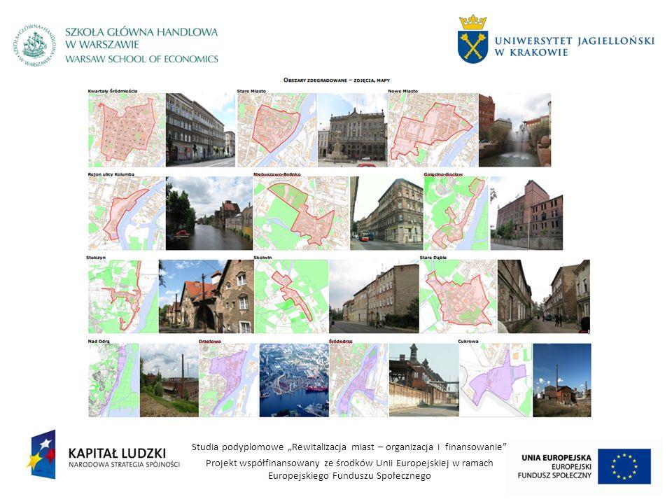 Studia podyplomowe Rewitalizacja miast – organizacja i finansowanie Projekt współfinansowany ze środków Unii Europejskiej w ramach Europejskiego Funduszu Społecznego