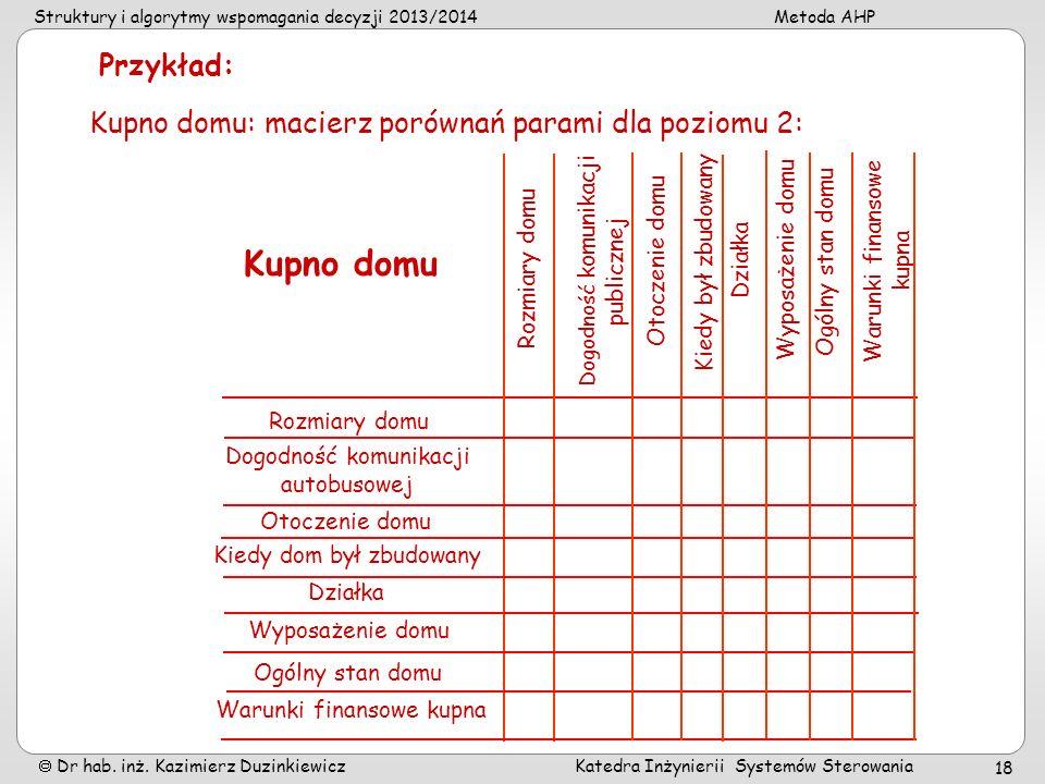 Struktury i algorytmy wspomagania decyzji 2013/2014Metoda AHP Dr hab. inż. Kazimierz Duzinkiewicz Katedra Inżynierii Systemów Sterowania 18 Kupno domu
