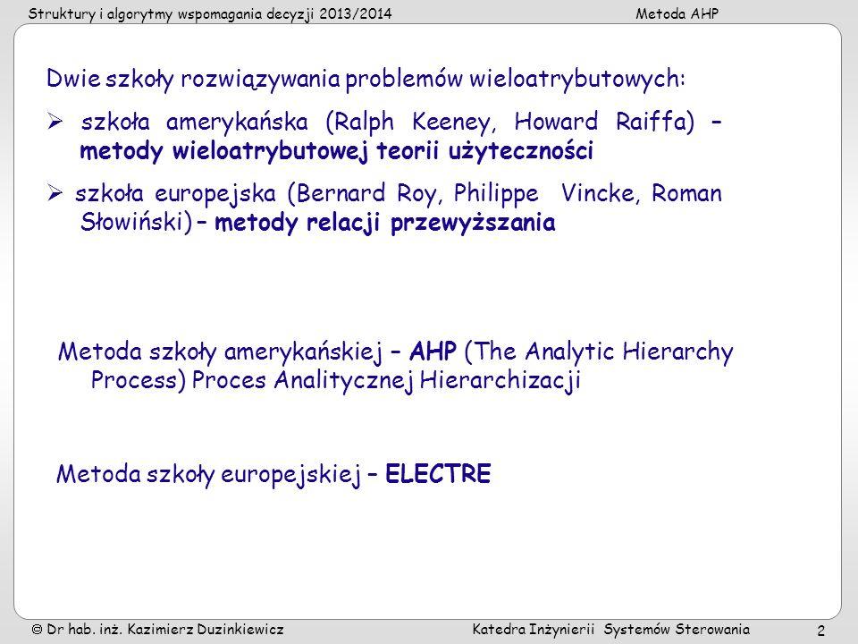 Struktury i algorytmy wspomagania decyzji 2013/2014Metoda AHP Dr hab. inż. Kazimierz Duzinkiewicz Katedra Inżynierii Systemów Sterowania 2 Dwie szkoły
