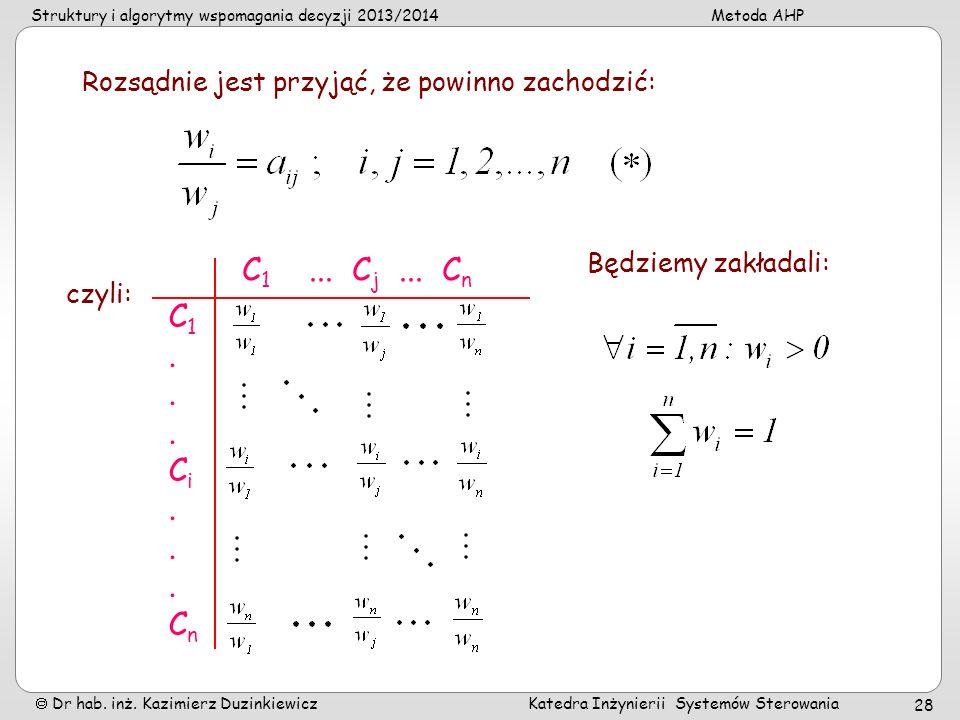 Struktury i algorytmy wspomagania decyzji 2013/2014Metoda AHP Dr hab. inż. Kazimierz Duzinkiewicz Katedra Inżynierii Systemów Sterowania 28 C 1... C j