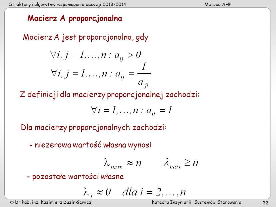 Struktury i algorytmy wspomagania decyzji 2013/2014Metoda AHP Dr hab. inż. Kazimierz Duzinkiewicz Katedra Inżynierii Systemów Sterowania 32 Macierz A