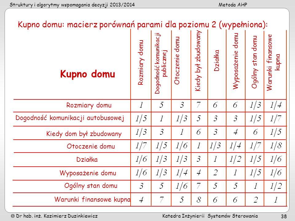 Struktury i algorytmy wspomagania decyzji 2013/2014Metoda AHP Dr hab. inż. Kazimierz Duzinkiewicz Katedra Inżynierii Systemów Sterowania 38 Kupno domu