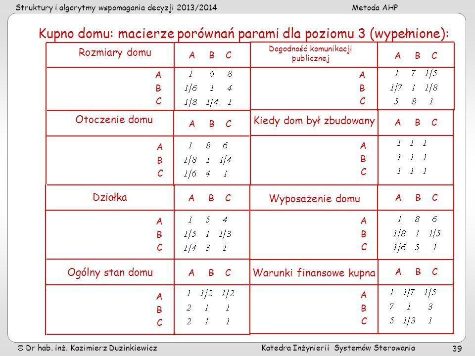 Struktury i algorytmy wspomagania decyzji 2013/2014Metoda AHP Dr hab. inż. Kazimierz Duzinkiewicz Katedra Inżynierii Systemów Sterowania 39 Kupno domu