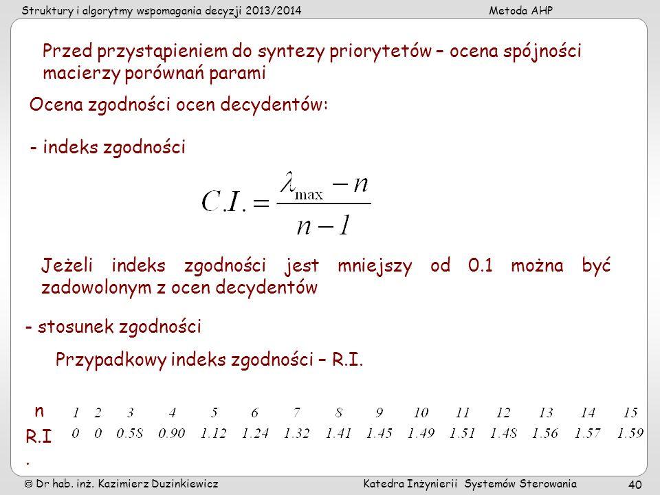 Struktury i algorytmy wspomagania decyzji 2013/2014Metoda AHP Dr hab. inż. Kazimierz Duzinkiewicz Katedra Inżynierii Systemów Sterowania 40 Przed przy