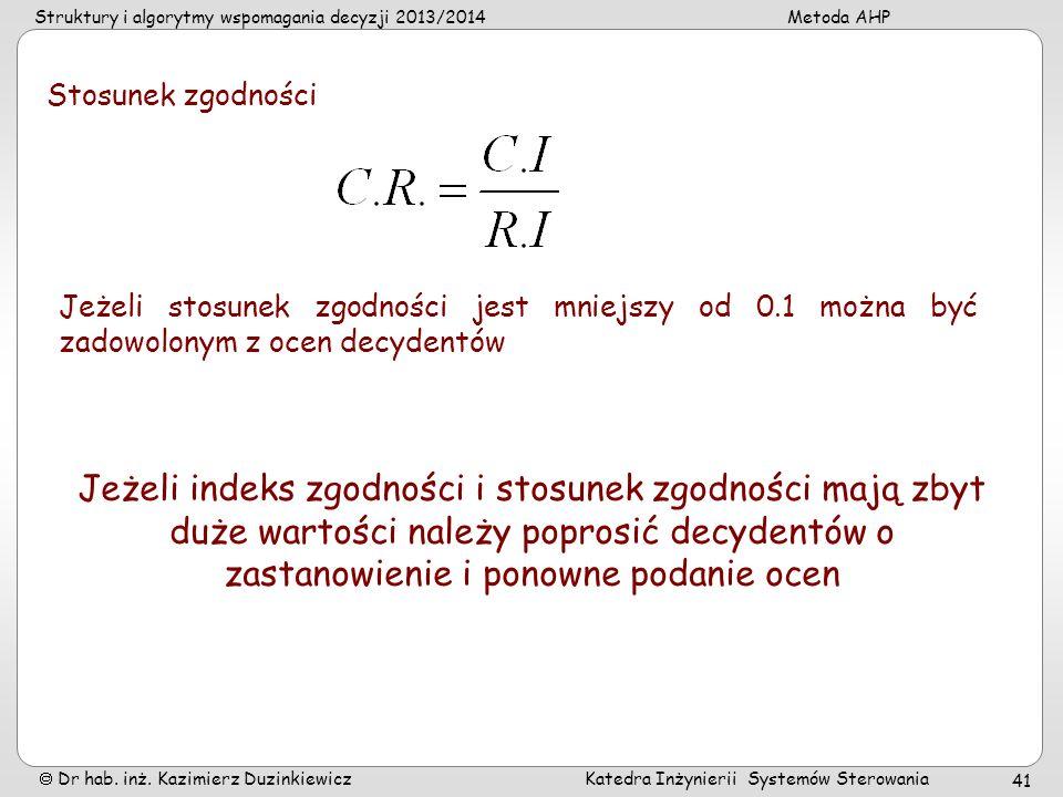 Struktury i algorytmy wspomagania decyzji 2013/2014Metoda AHP Dr hab. inż. Kazimierz Duzinkiewicz Katedra Inżynierii Systemów Sterowania 41 Stosunek z