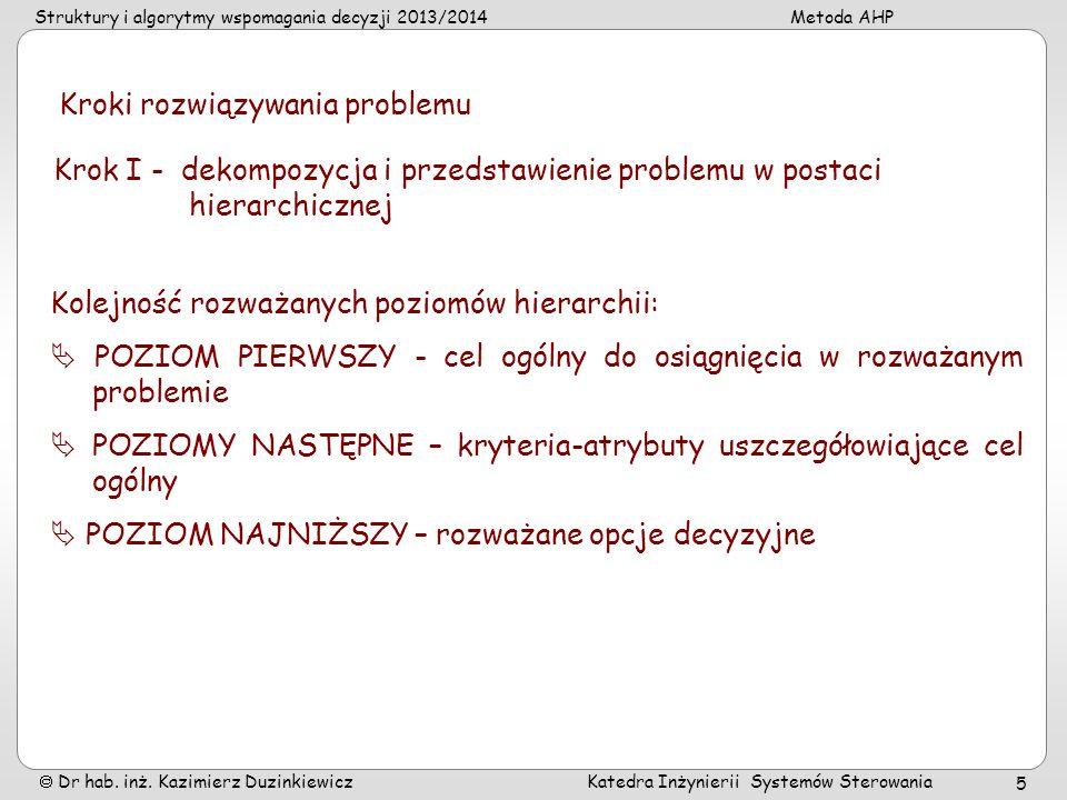 Struktury i algorytmy wspomagania decyzji 2013/2014Metoda AHP Dr hab. inż. Kazimierz Duzinkiewicz Katedra Inżynierii Systemów Sterowania 5 Kroki rozwi