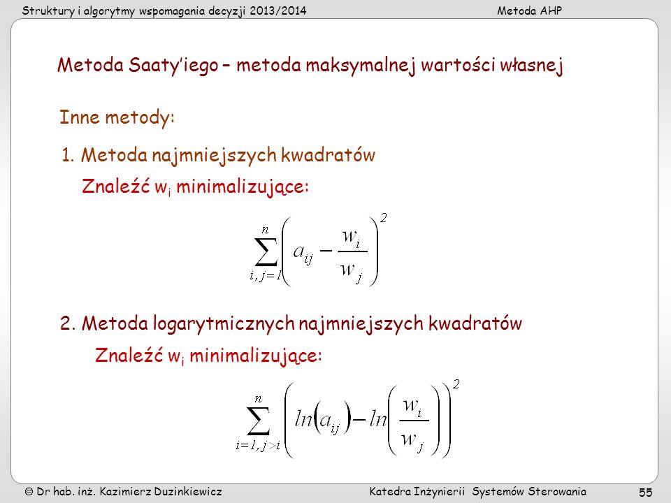 Struktury i algorytmy wspomagania decyzji 2013/2014Metoda AHP Dr hab. inż. Kazimierz Duzinkiewicz Katedra Inżynierii Systemów Sterowania 55 Metoda Saa
