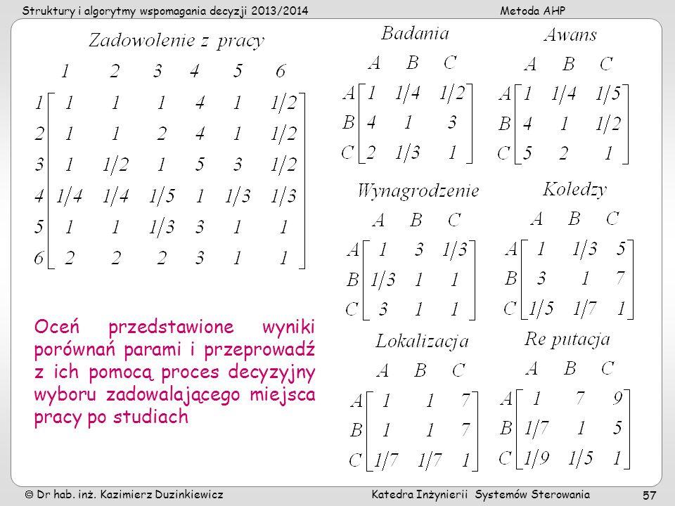 Struktury i algorytmy wspomagania decyzji 2013/2014Metoda AHP Dr hab. inż. Kazimierz Duzinkiewicz Katedra Inżynierii Systemów Sterowania 57 Oceń przed