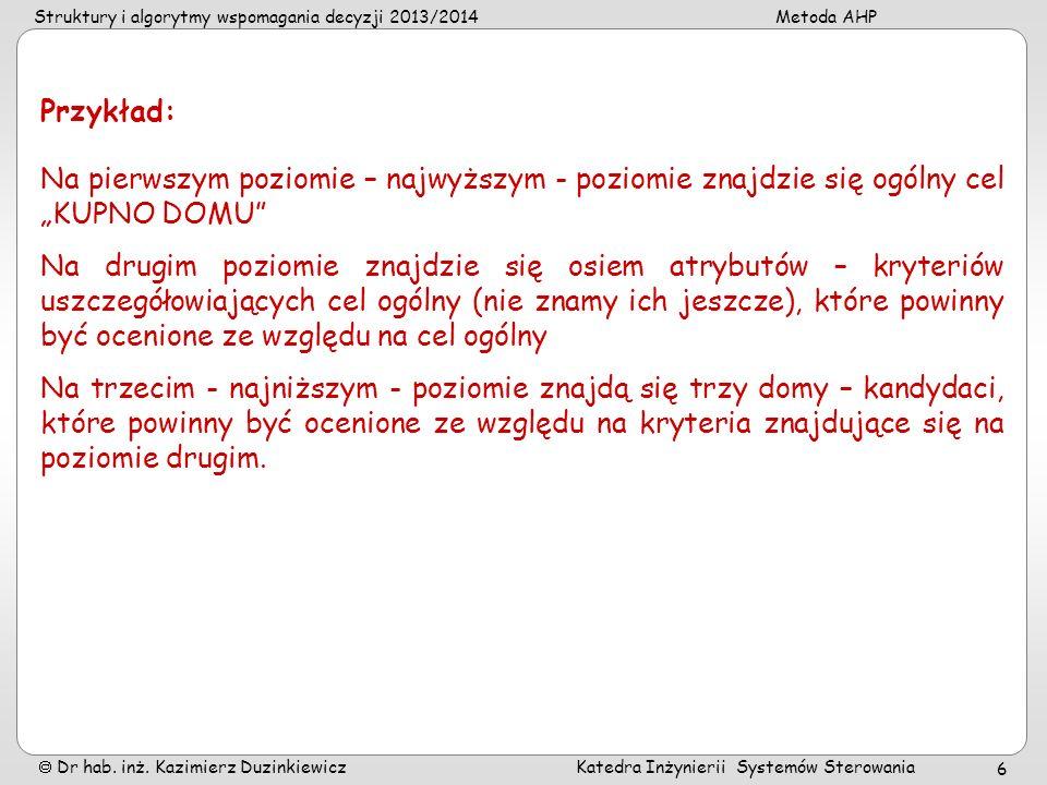 Struktury i algorytmy wspomagania decyzji 2013/2014Metoda AHP Dr hab. inż. Kazimierz Duzinkiewicz Katedra Inżynierii Systemów Sterowania 6 Na pierwszy