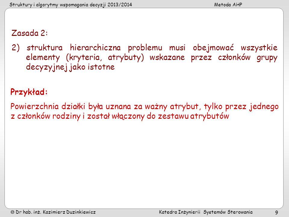 Struktury i algorytmy wspomagania decyzji 2013/2014Metoda AHP Dr hab. inż. Kazimierz Duzinkiewicz Katedra Inżynierii Systemów Sterowania 9 Zasada 2: 2