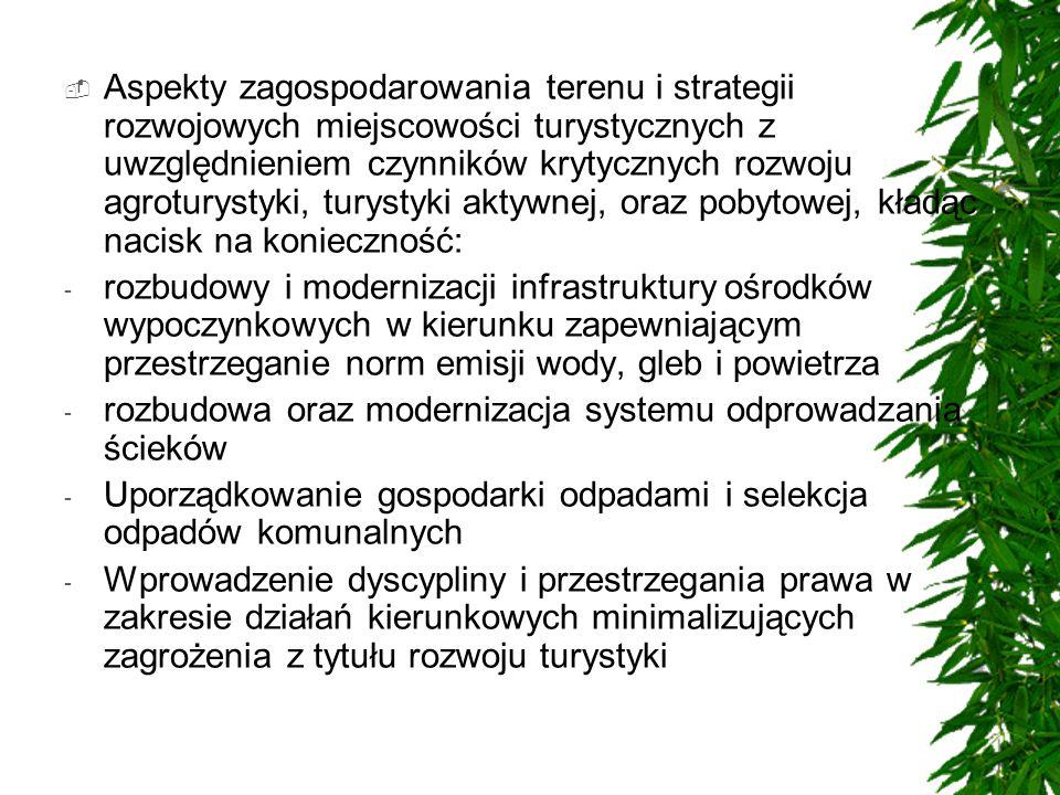 Aspekty zagospodarowania terenu i strategii rozwojowych miejscowości turystycznych z uwzględnieniem czynników krytycznych rozwoju agroturystyki, turys