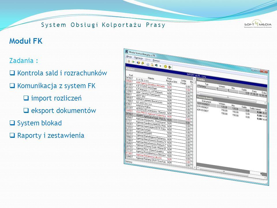 System Obsługi Kolportażu Prasy Moduł FK Zadania : Kontrola sald i rozrachunków Komunikacja z system FK import rozliczeń eksport dokumentów System blo