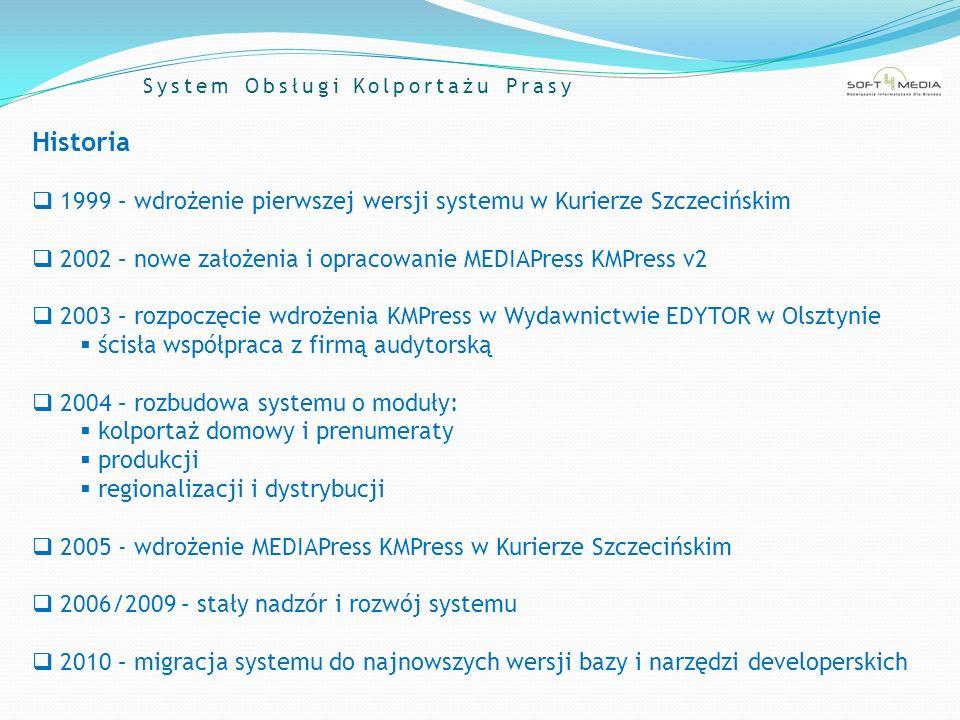 System Obsługi Kolportażu Prasy Historia 1999 – wdrożenie pierwszej wersji systemu w Kurierze Szczecińskim 2002 – nowe założenia i opracowanie MEDIAPr