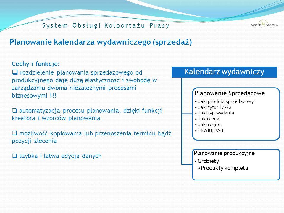 System Obsługi Kolportażu Prasy Produkcja Zadania: rozbudowa opisu pozycji sprzedażowej : definicja rodzaju i ilości grzbietów dostępnych w danym dniu wydawniczym budowa grzbietu w oparciu o produkty kompletu (np.: grzbiet mutowany + Telemagazyn) generowanie zleceń i raportów: zamówień ilościowych druku dla drukarni kompletacji egzemplarzowej Kalendarz wydawniczy Pozycja sprzedażowaGrzbietyProdukty kompletu Cechy i funkcje: Elastyczny mechanizm kontroli i zmian Automatyczne planowanie struktury produkcji na podstawie wzorców planowania Możliwość określenia wagi grzbietu jako parametru do przydzielania dodatkowych marż Klasyfikacja produktów kompletu wg typu materiału (do druku, mat.