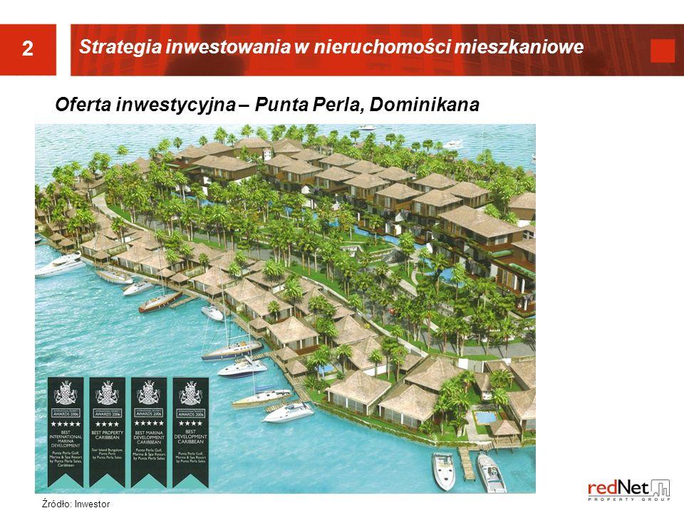 Strategia inwestowania w nieruchomości mieszkaniowe 2 Źródło: Inwestor Oferta inwestycyjna – Punta Perla, Dominikana