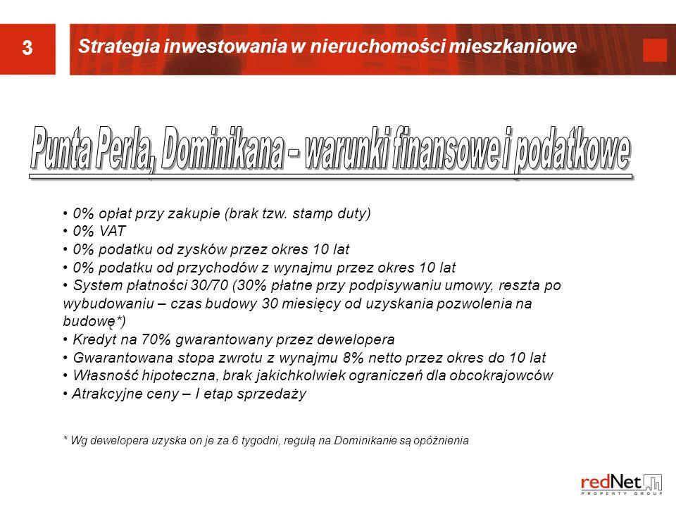 3 Strategia inwestowania w nieruchomości mieszkaniowe 0% opłat przy zakupie (brak tzw. stamp duty) 0% VAT 0% podatku od zysków przez okres 10 lat 0% p