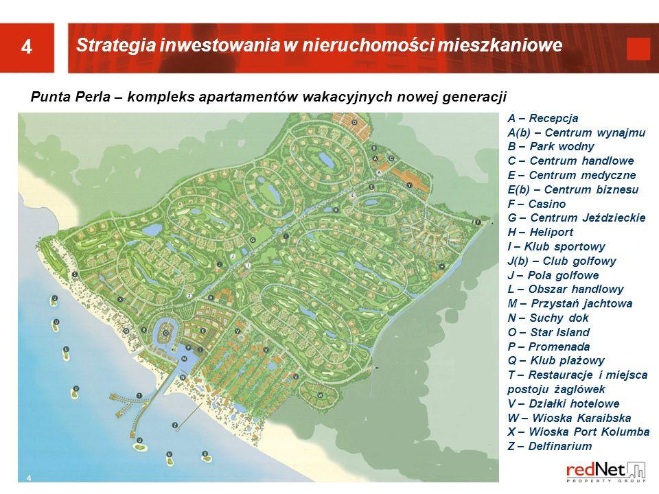 4 Strategia inwestowania w nieruchomości mieszkaniowe A – Recepcja A(b) – Centrum wynajmu B – Park wodny C – Centrum handlowe E – Centrum medyczne E(b