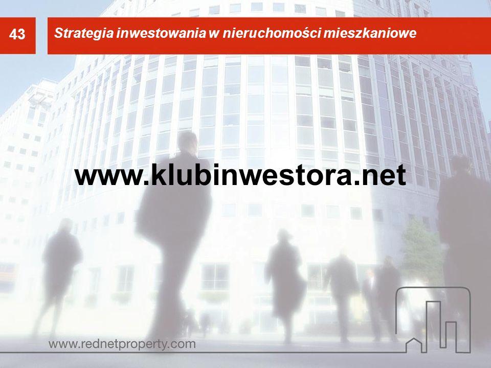 43 Strategia inwestowania w nieruchomości mieszkaniowe 43 www.klubinwestora.net