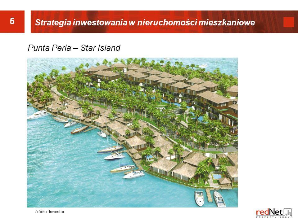 5 Strategia inwestowania w nieruchomości mieszkaniowe Punta Perla – Star Island Źródło: Inwestor