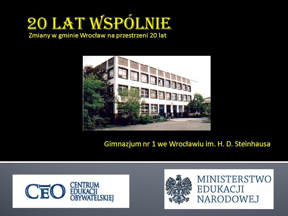 20 lat wspólnie Gimnazjum nr 1 we Wrocławiu im. H. D. Steinhausa Zmiany w gminie Wrocław na przestrzeni 20 lat