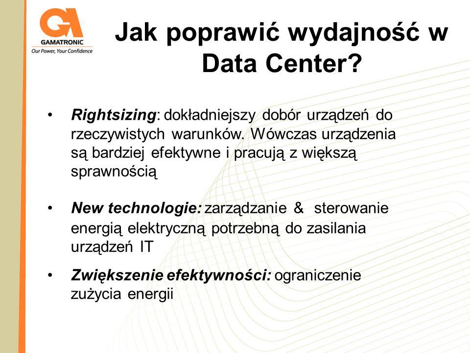 Jak poprawić wydajność w Data Center? Rightsizing: dokładniejszy dobór urządzeń do rzeczywistych warunków. Wówczas urządzenia są bardziej efektywne i