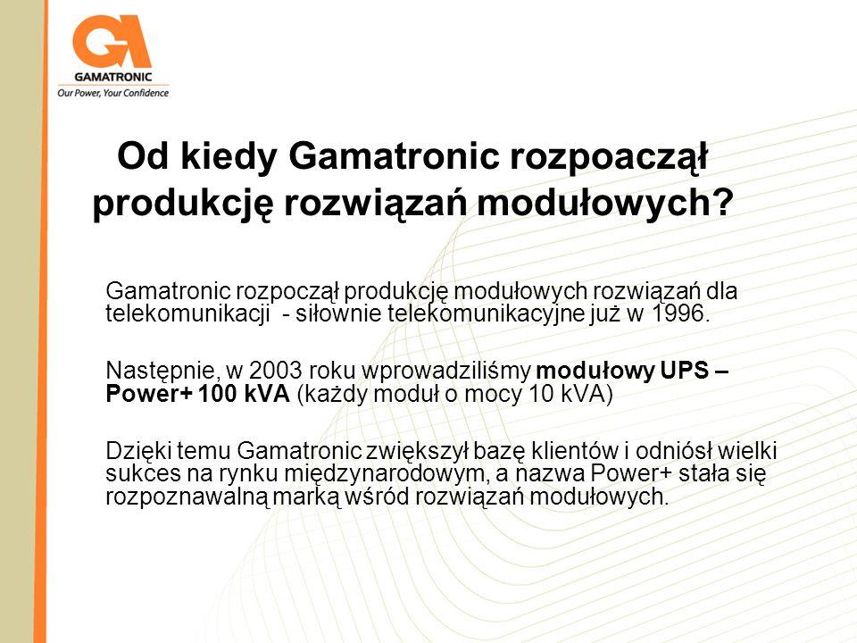 Od kiedy Gamatronic rozpoaczął produkcję rozwiązań modułowych? Gamatronic rozpoczął produkcję modułowych rozwiązań dla telekomunikacji - siłownie tele