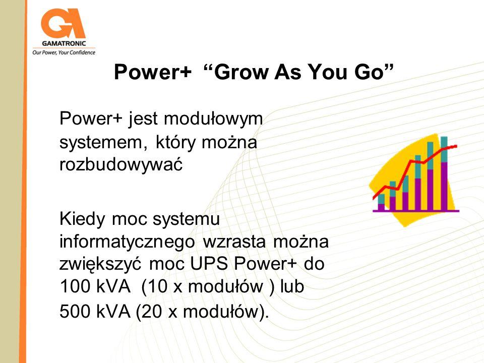 Power+ Grow As You Go Power+ jest modułowym systemem, który można rozbudowywać Kiedy moc systemu informatycznego wzrasta można zwiększyć moc UPS Power