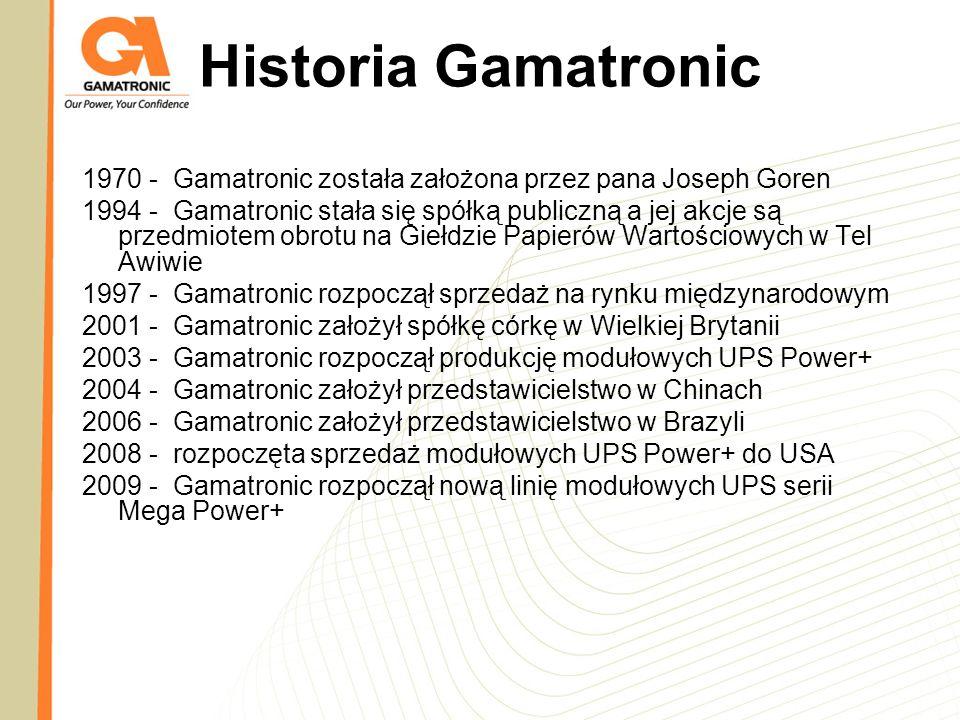 Historia Gamatronic 1970 - Gamatronic została założona przez pana Joseph Goren 1994 - Gamatronic stała się spółką publiczną a jej akcje są przedmiotem