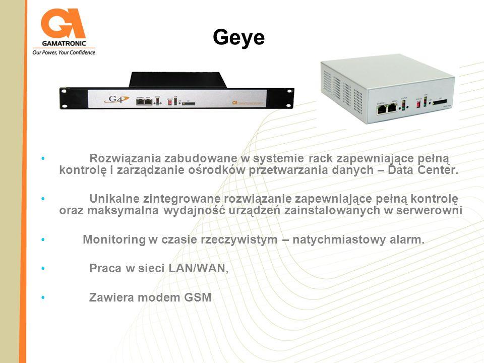 Geye Rozwiązania zabudowane w systemie rack zapewniające pełną kontrolę i zarządzanie ośrodków przetwarzania danych – Data Center. Unikalne zintegrowa