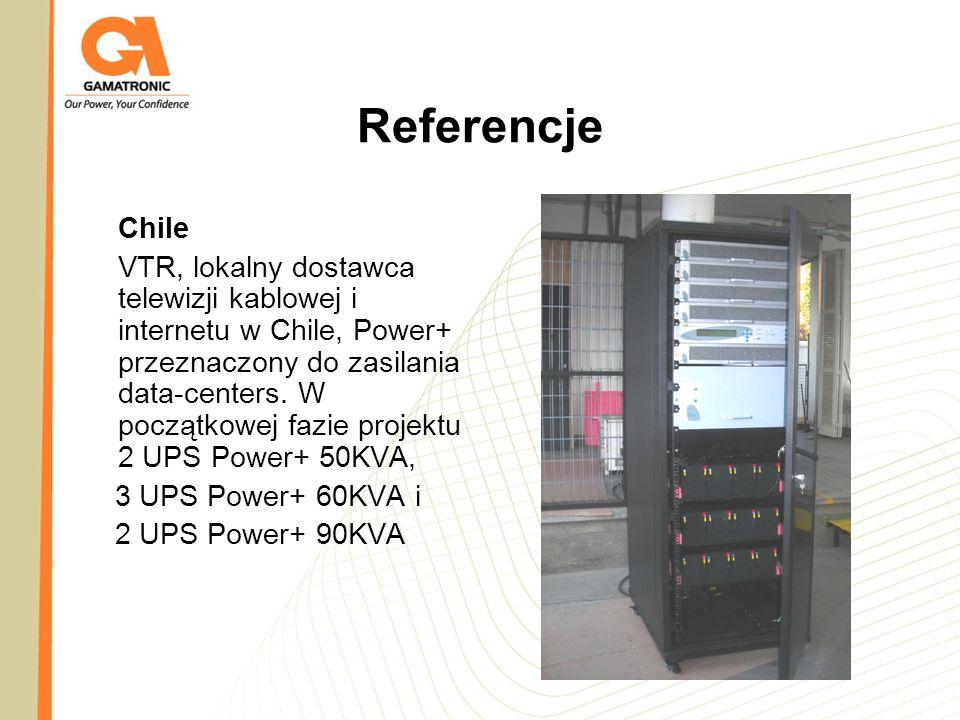 Referencje Chile VTR, lokalny dostawca telewizji kablowej i internetu w Chile, Power+ przeznaczony do zasilania data-centers. W początkowej fazie proj