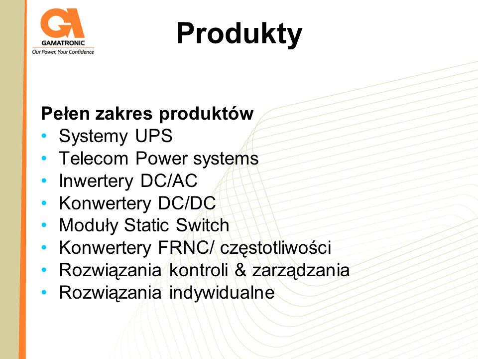 Produkty Pełen zakres produktów Systemy UPS Telecom Power systems Inwertery DC/AC Konwertery DC/DC Moduły Static Switch Konwertery FRNC/ częstotliwośc