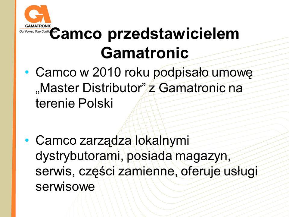 Camco przedstawicielem Gamatronic Camco w 2010 roku podpisało umowę Master Distributor z Gamatronic na terenie Polski Camco zarządza lokalnymi dystryb