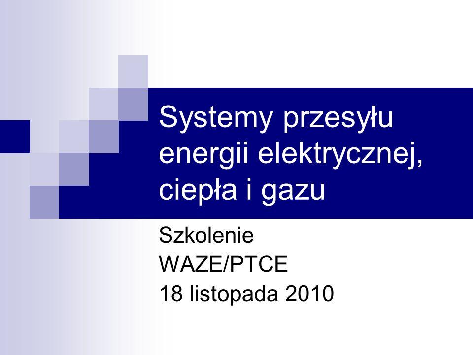 Systemy przesyłu energii elektrycznej, ciepła i gazu Szkolenie WAZE/PTCE 18 listopada 2010