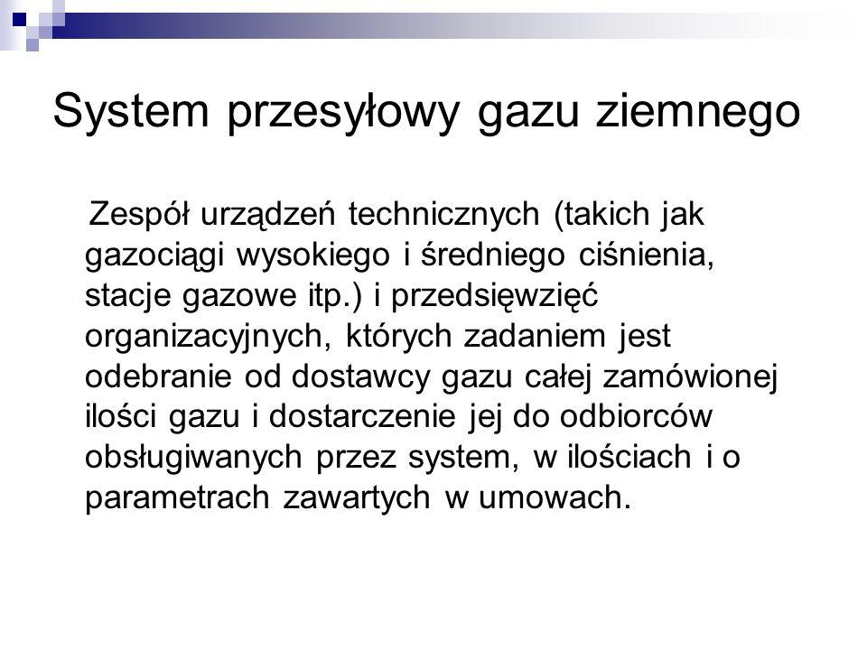 System przesyłowy gazu ziemnego Zespół urządzeń technicznych (takich jak gazociągi wysokiego i średniego ciśnienia, stacje gazowe itp.) i przedsięwzię