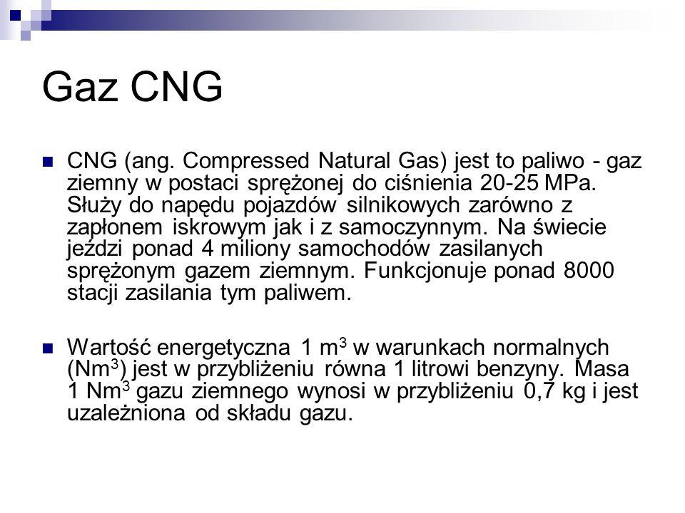 Gaz CNG CNG (ang. Compressed Natural Gas) jest to paliwo - gaz ziemny w postaci sprężonej do ciśnienia 20-25 MPa. Służy do napędu pojazdów silnikowych