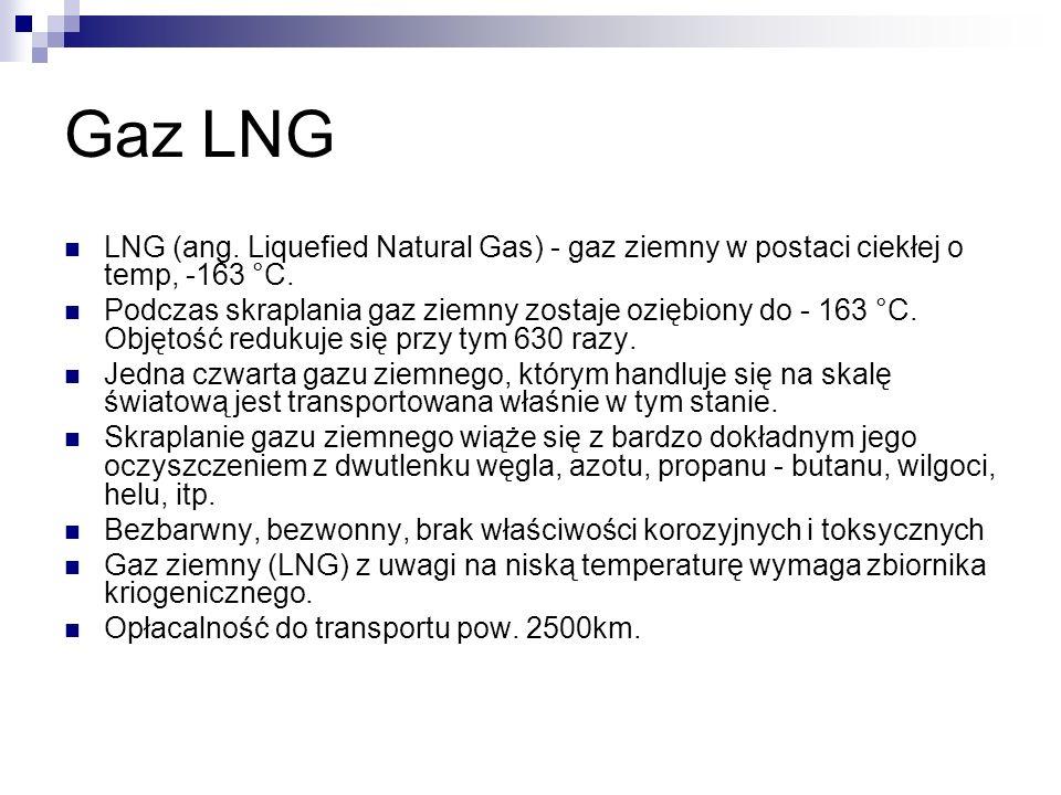 Gaz LNG LNG (ang. Liquefied Natural Gas) - gaz ziemny w postaci ciekłej o temp, -163 °C. Podczas skraplania gaz ziemny zostaje oziębiony do - 163 °C.
