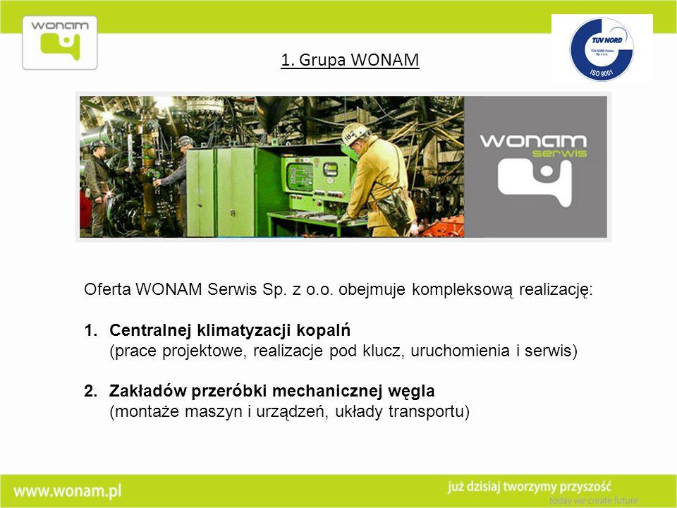 Oferta WONAM Serwis Sp. z o.o. obejmuje kompleksową realizację: 1.Centralnej klimatyzacji kopalń (prace projektowe, realizacje pod klucz, uruchomienia