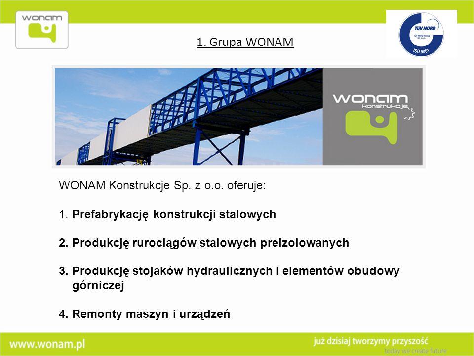 WONAM Konstrukcje Sp. z o.o. oferuje: 1. Prefabrykację konstrukcji stalowych 2. Produkcję rurociągów stalowych preizolowanych 3. Produkcję stojaków hy