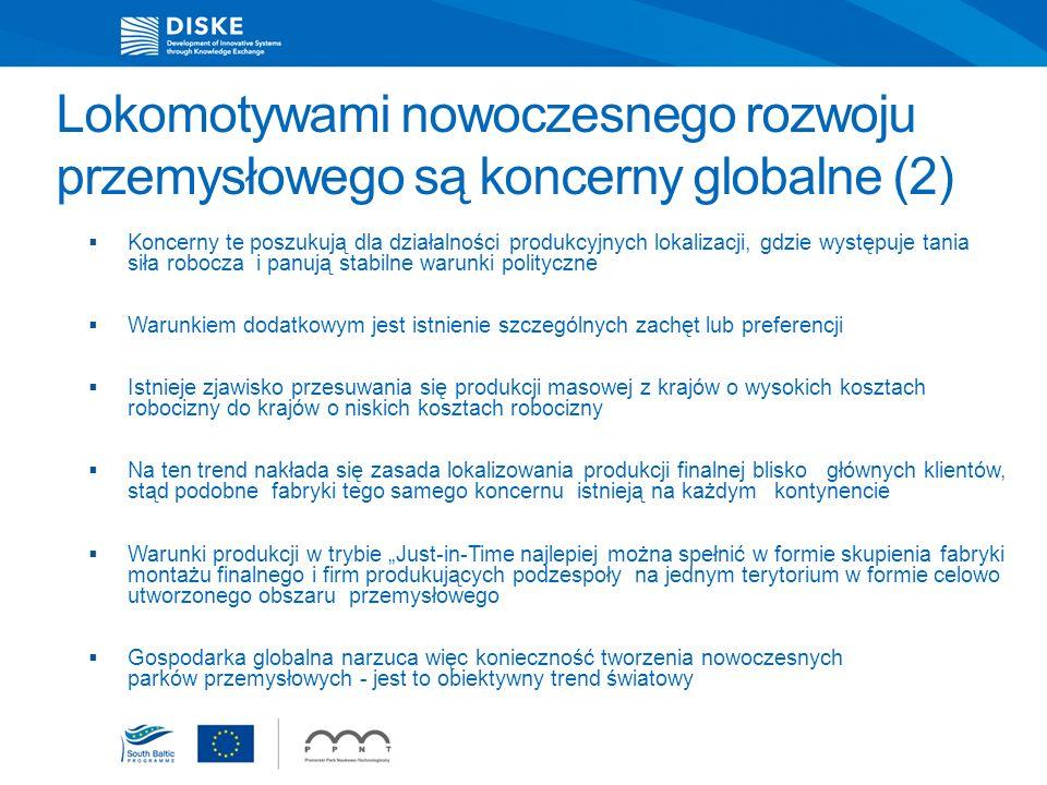 Lokomotywami nowoczesnego rozwoju przemysłowego są koncerny globalne (2) Koncerny te poszukują dla działalności produkcyjnych lokalizacji, gdzie wystę