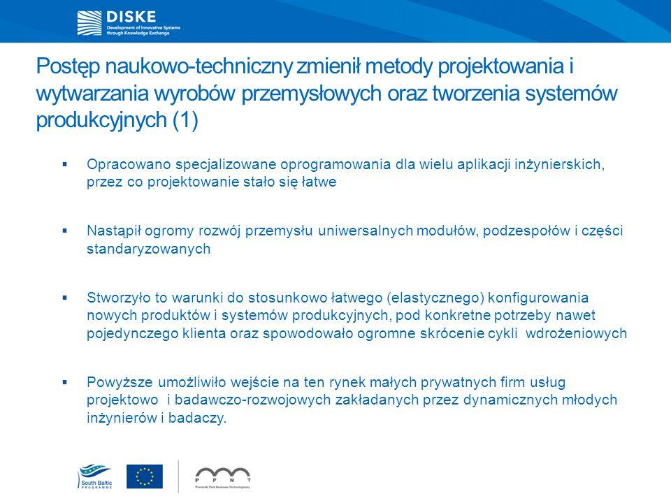 Postęp naukowo-techniczny zmienił metody projektowania i wytwarzania wyrobów przemysłowych oraz tworzenia systemów produkcyjnych (1) Opracowano specja