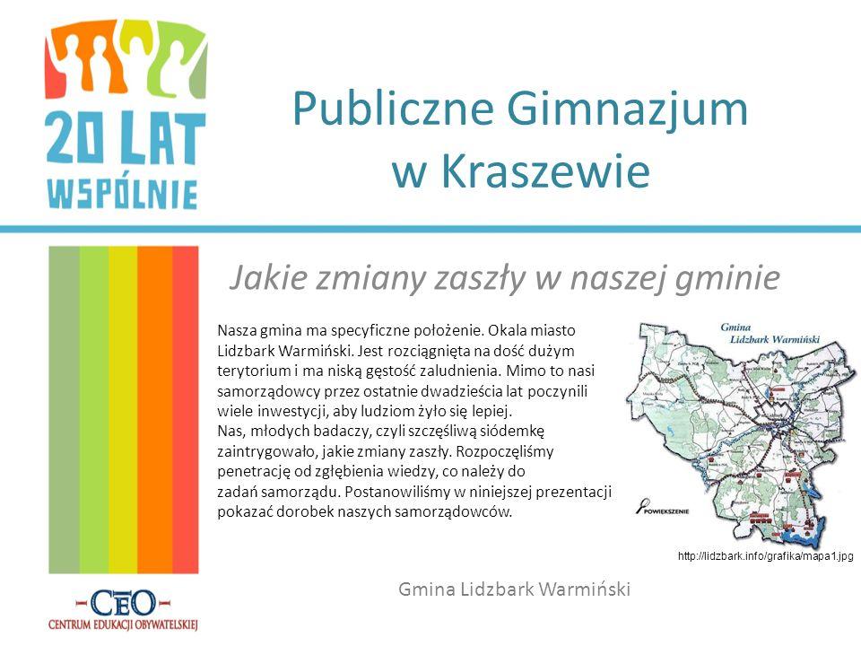 Publiczne Gimnazjum w Kraszewie Jakie zmiany zaszły w naszej gminie Gmina Lidzbark Warmiński http://lidzbark.info/grafika/mapa1.jpg Nasza gmina ma spe