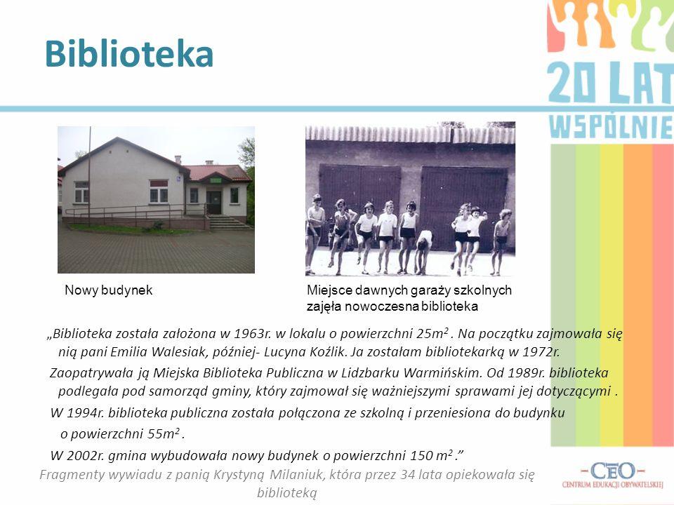 Biblioteka Biblioteka została założona w 1963r. w lokalu o powierzchni 25m 2. Na początku zajmowała się nią pani Emilia Walesiak, później- Lucyna Koźl