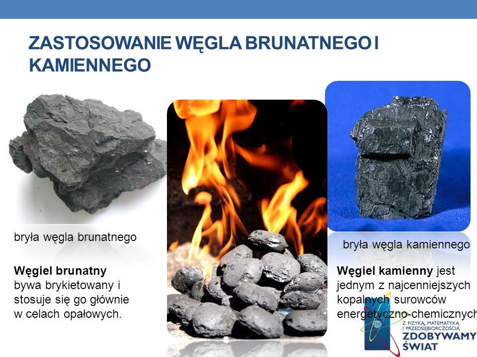 ZASTOSOWANIE WĘGLA BRUNATNEGO I KAMIENNEGO bryła węgla brunatnego bryła węgla kamiennego Węgiel brunatny bywa brykietowany i stosuje się go głównie w