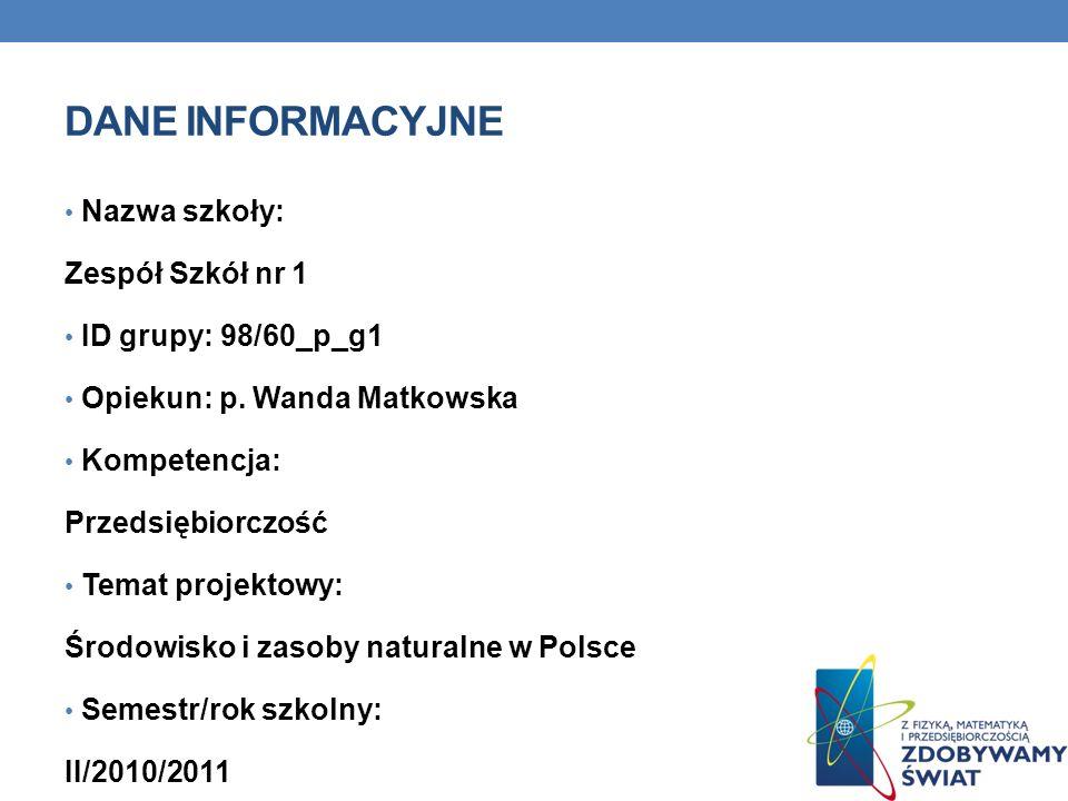 DANE INFORMACYJNE Nazwa szkoły: Zespół Szkół nr 1 ID grupy: 98/60_p_g1 Opiekun: p. Wanda Matkowska Kompetencja: Przedsiębiorczość Temat projektowy: Śr