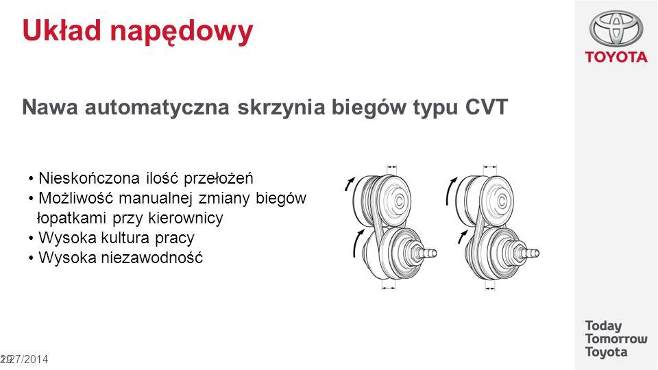 Układ napędowy Nawa automatyczna skrzynia biegów typu CVT 2/27/201419 Nieskończona ilość przełożeń Możliwość manualnej zmiany biegów łopatkami przy ki