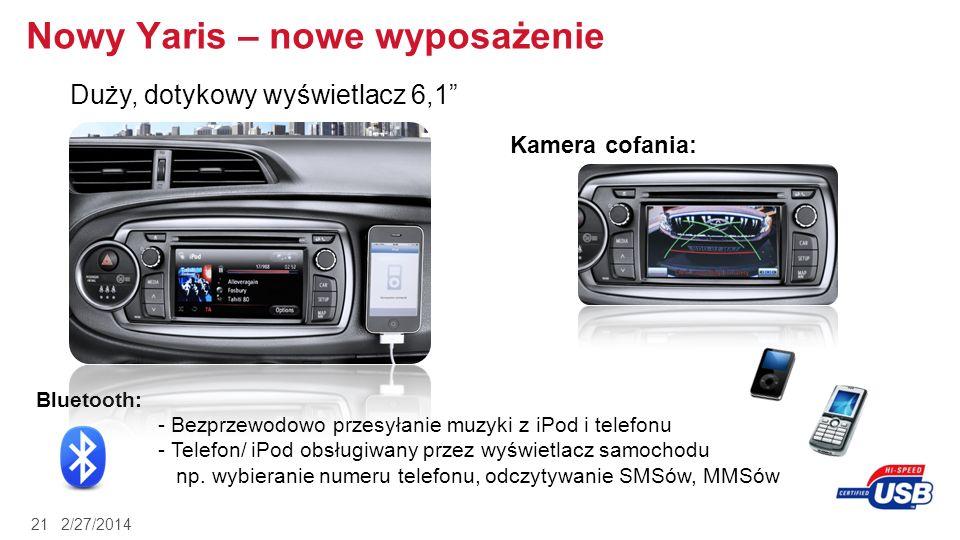 2/27/201421 Nowy Yaris – nowe wyposażenie Duży, dotykowy wyświetlacz 6,1 Kamera cofania: Bluetooth: - Bezprzewodowo przesyłanie muzyki z iPod i telefo